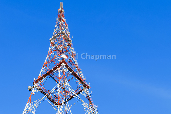 Lattice television broadcast tower and tv antennas