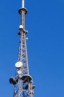 Microwave antenna on television broadcast lattice tower used for tv transmission