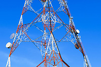 Lattice television broadcast tower and tv antennas